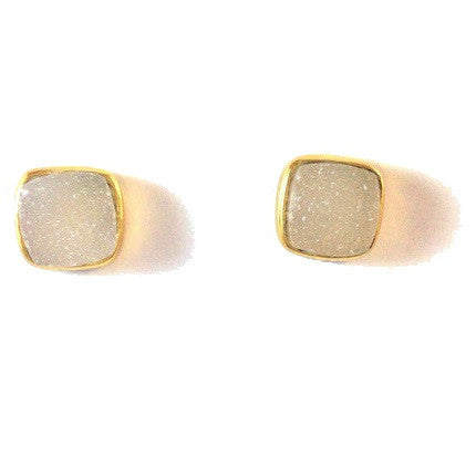 Natural White Druzy Post Earrings, $34 | 14kt Gold-Filled Stud | Light Years Jewelry