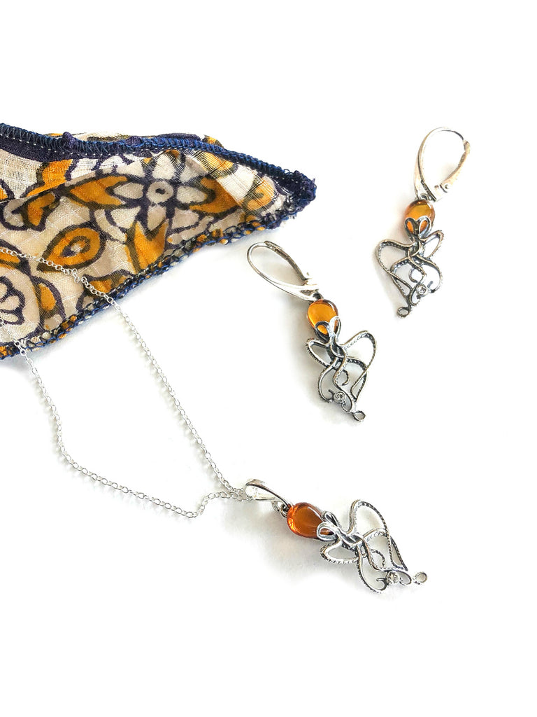 Amber Octopus Dangles | Sterling Silver Earrings | Light Years Jewelry