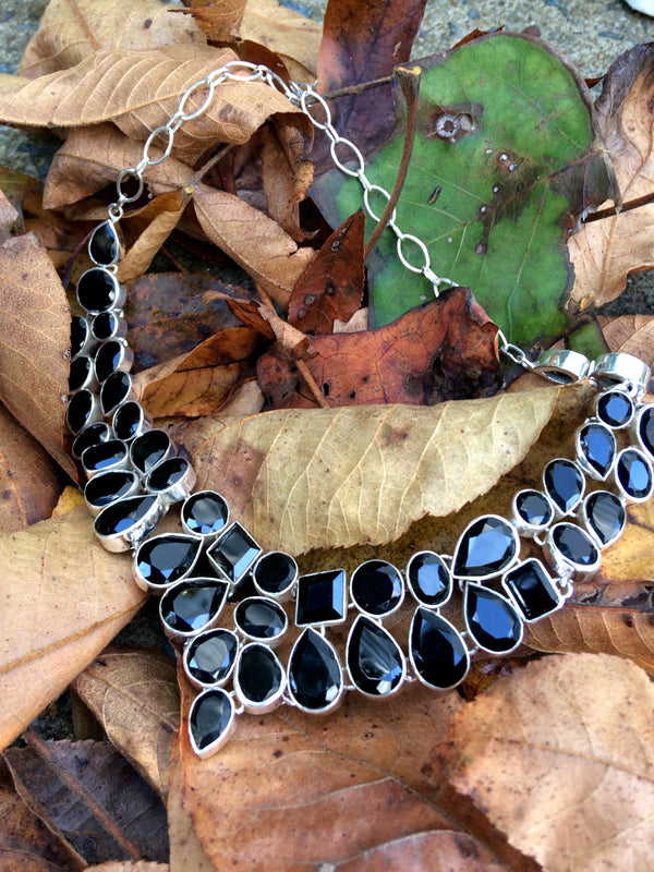 Faceted Onyx Statement Necklace | Sterling Silver Bib | Light Years
