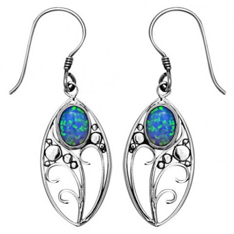 Blue Opal Flower Dangles