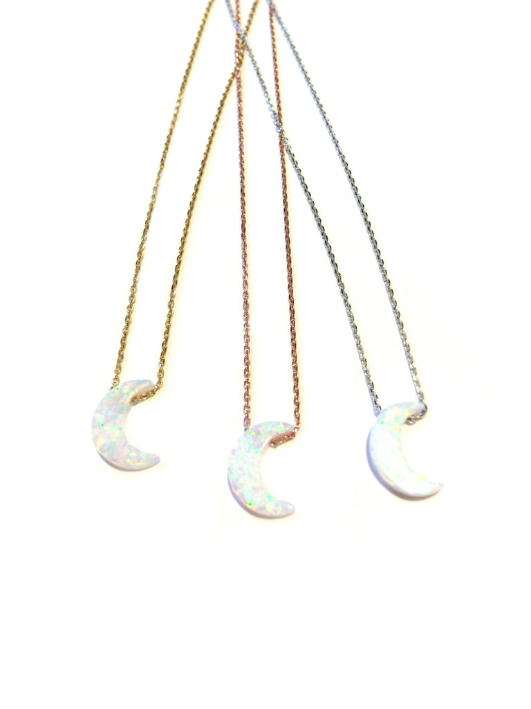 Opal Crescent Moon Necklace | Sterling Silver Gold Vermeil | Light Years
