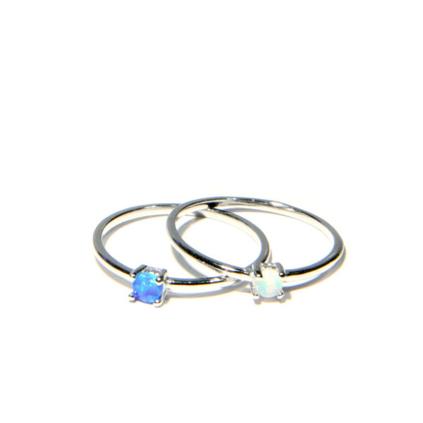 Simple Opal Ring | Sizes 5 6 7 8 Sterling Silver | Light Years Jewelry