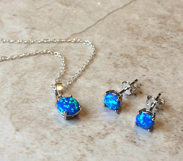 Blue Opal Necklace | Sterling Silver Chain Pendant | Light Years