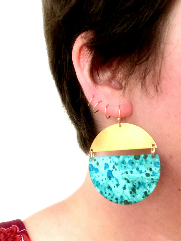 Geometric Patina Statement Earrings | Gold Accented Dangles | Light Years