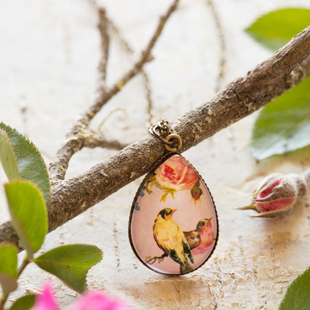 Bird and Blossom Glass Dome Pendant Necklace by Beijo Brasil