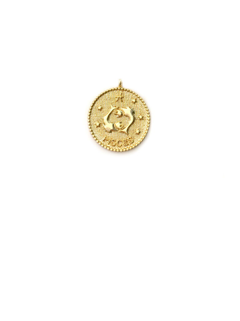 Zodiac Medallion Necklace | Pisces | Gold Plated Chain Pendant | Light Years