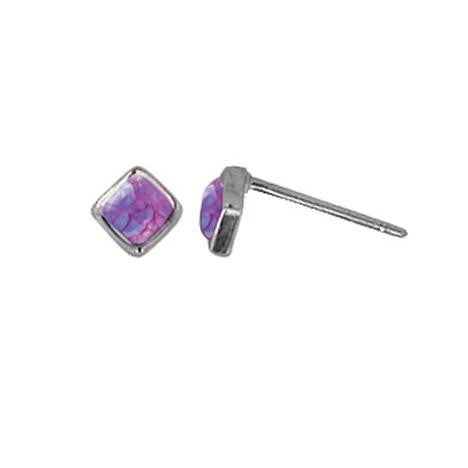 Purple Turquoise Square Stone Posts, $12 | Sterling Silver Stud Earrings