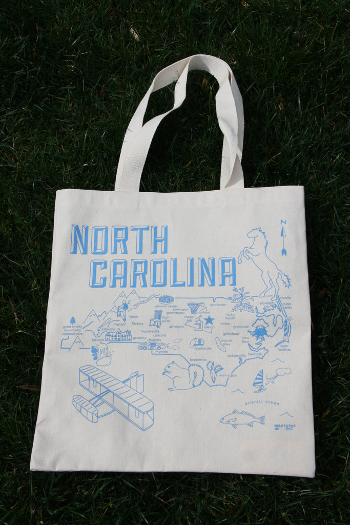 North Carolina Map Tote Bag, $18 | USA Made | Light Years Jewelry
