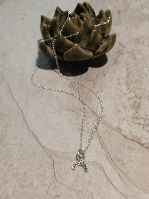 Rainbow CZ Necklace | Sterling Silver Pendant Chain | Light Years