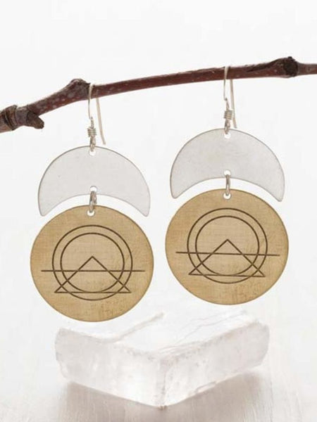 Sacred Geometry Dangle Earrings | Handmade Silver Brass | Light Years