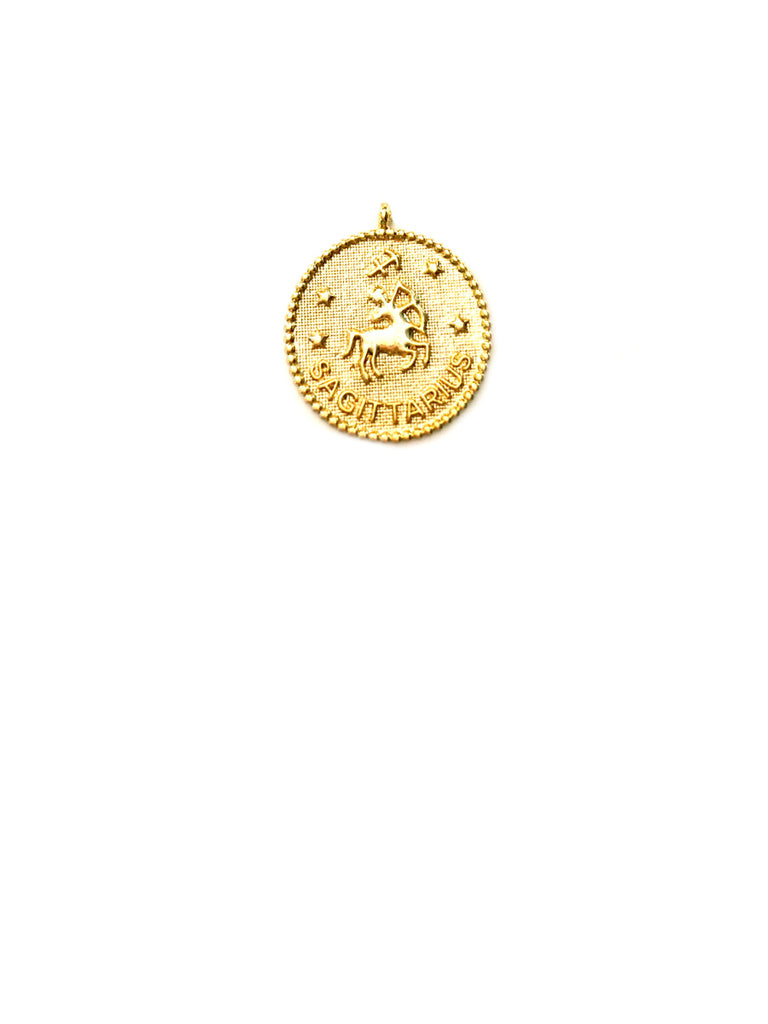 Zodiac Medallion Necklace | Sagittarius | Gold Plated Chain Pendant | Light Years