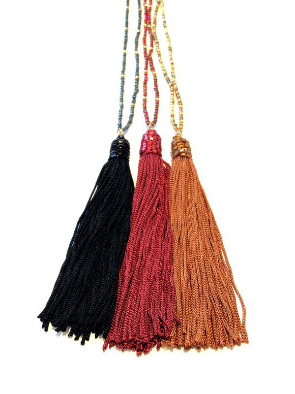 Beaded Silk Tassel Necklace