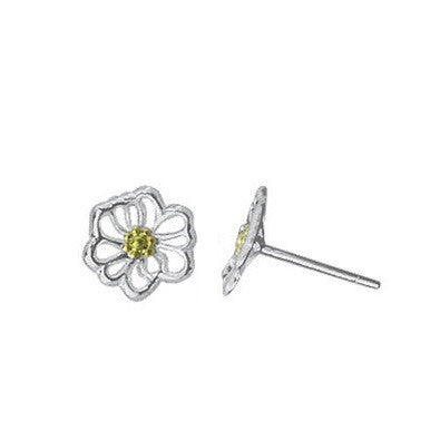 Yellow Flowers with Silver Cutout Petals Posts $14 | Sterling Earrings