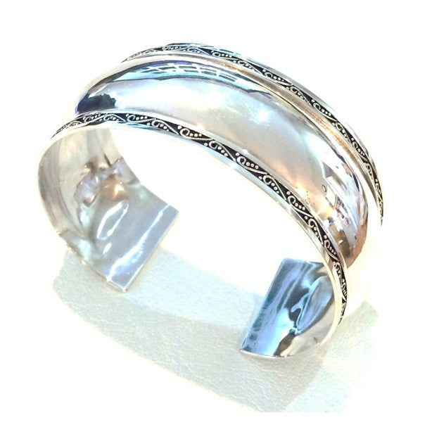 Wide Domed Bordered Cuff, $98 | Sterling Silver | Light Years Jewelry