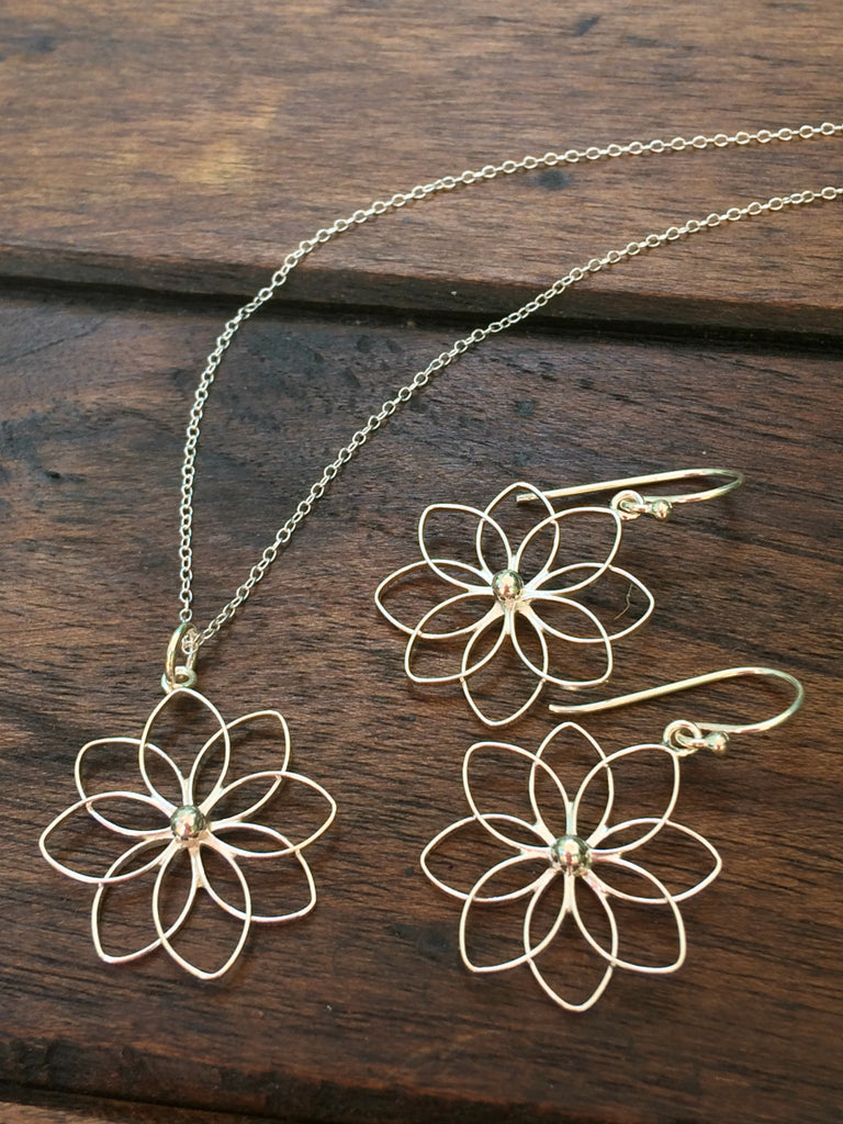 Open Flower Earrings | Sterling Silver Dangles | Light Years Jewelry
