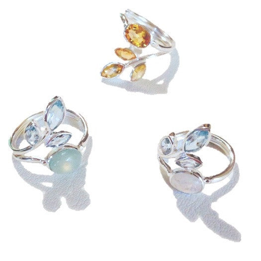 Gemstone Leaves Ring, $32 | Sterling Silver | Light Years Jewelry