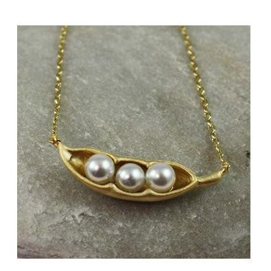 Snow Peas Necklace | Silver or Gold Plated Chain | Light Years Jewelry
