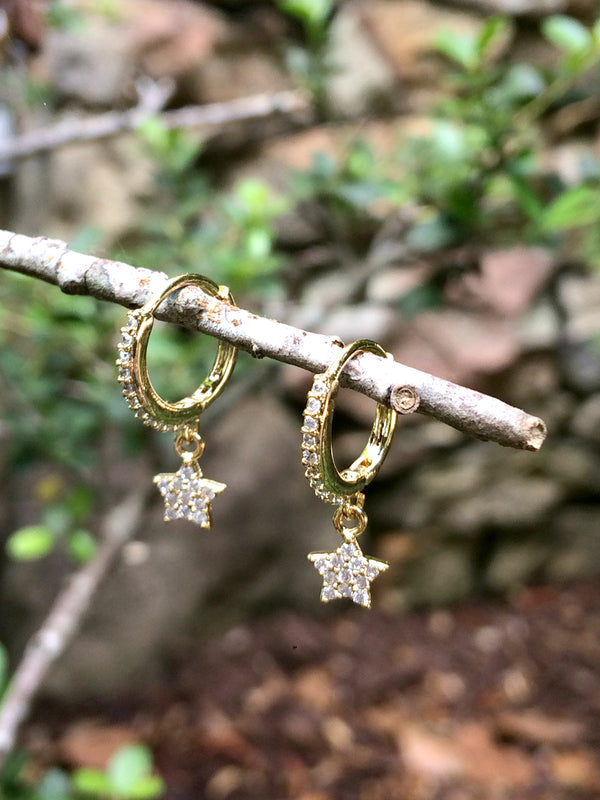 Star Sparkle Hinged Hoops | Gold Plated Earrings | Light Years Jewelry