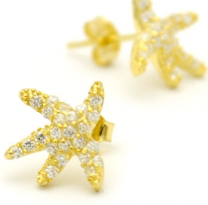 Crystal Starfish Posts $22 | Gold Vermeil Stud Earring | Light Years Jewelry