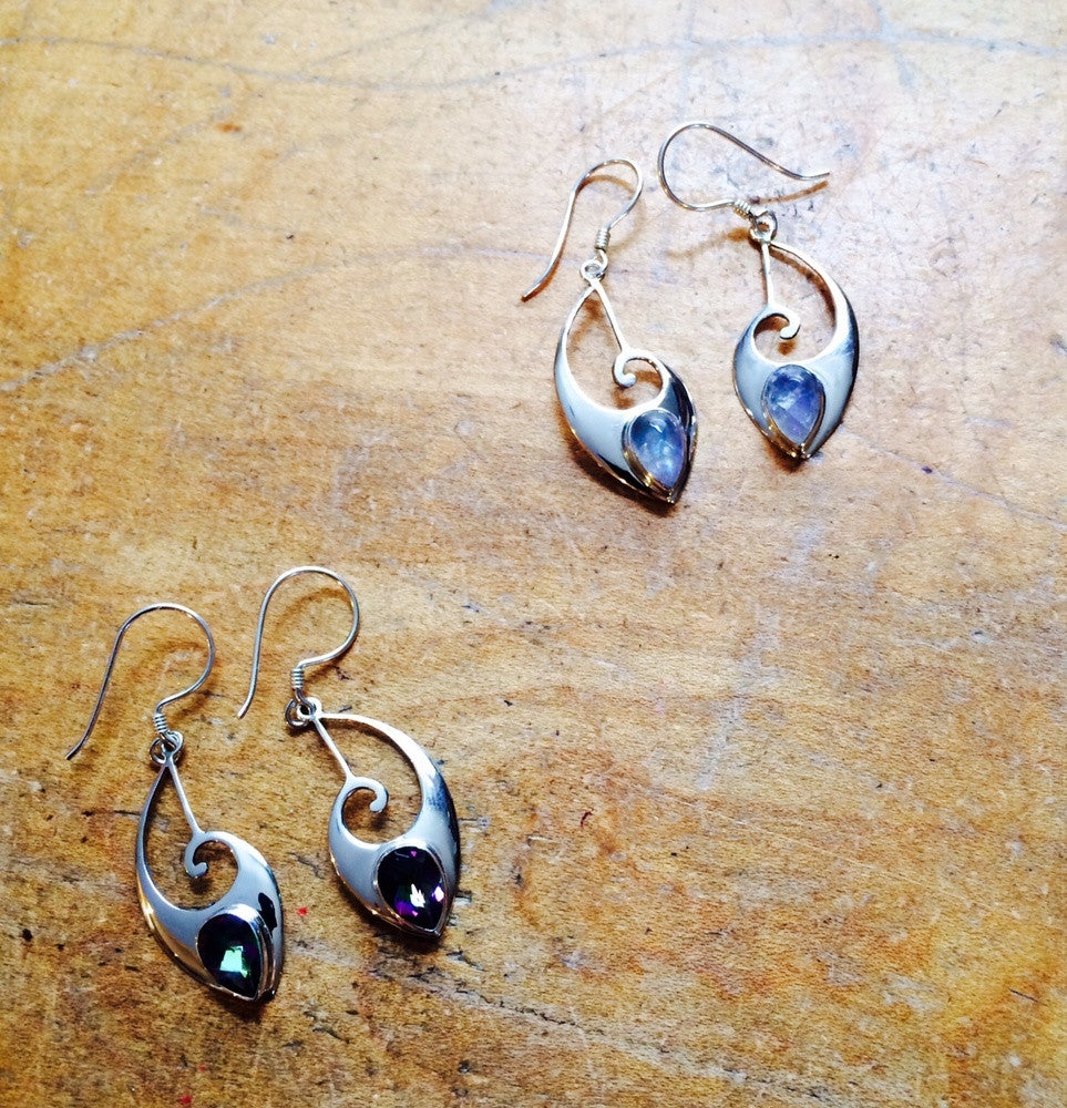 Curved Dangle with Stone, $36 | Sterling Silver Earrings | Light Years