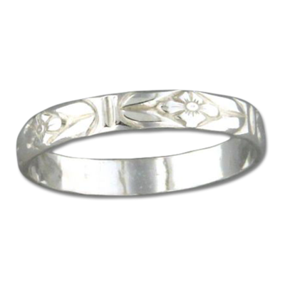 Sterling Silver Floral Band, $12 | Stacking Ring | Light Years Jewelry