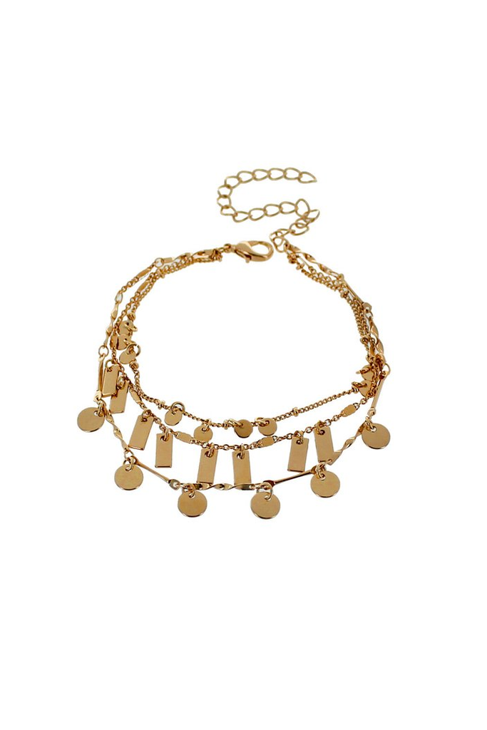 Three-Row Chain Bracelet, $8 | Gold Accessories | Light Years Jewelry