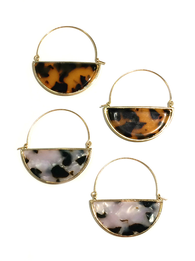 Half-Moon Tortoiseshell Hoops | Fashion Earrings | Light Years Jewelry