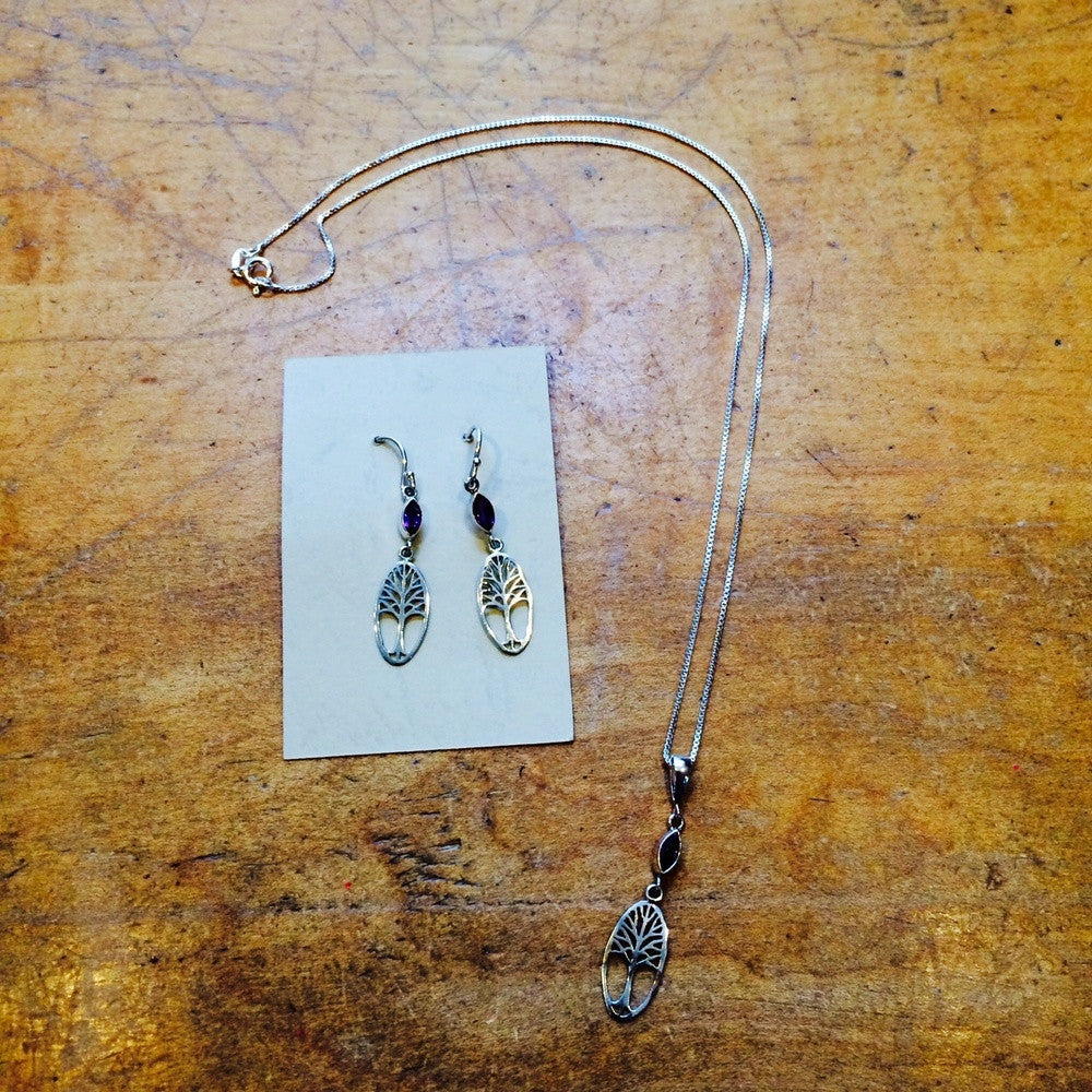 Tree of Life with Amethyst Stone Earrings, $22 | Sterling Silver | Light Years Jewelry