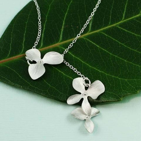 Triple Orchid Necklace, $26 | Sterling Silver | Light Years Jewelry