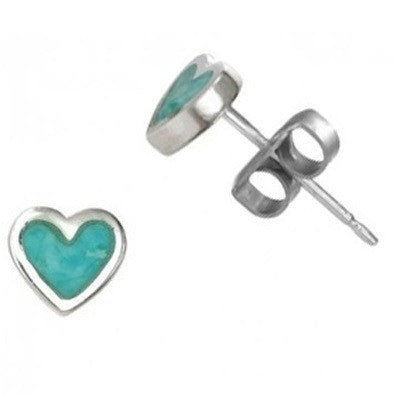 Turquoise Heart Posts  | Sterling Silver Studs | Light Years Jewelry