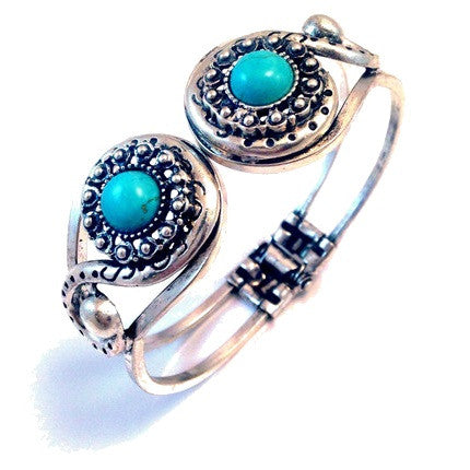 Double Turquoise Bracelet, $8 | Fashion Silver Cuff | Light Years