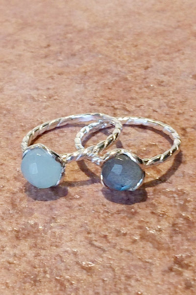 Twisted Band Stone Rings, $24 | Sterling Silver | Light Years Jewelry