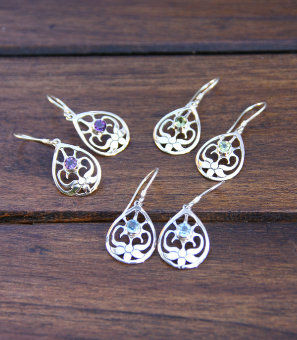 Flower Stone Dangles, $24 | Peridot, Amethyst, Topaz | Light Years