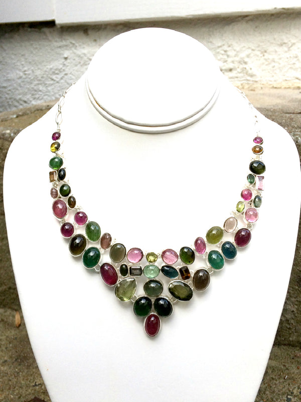Watermelon Tourmaline Statement Necklace | Sterling Silver | Light Years