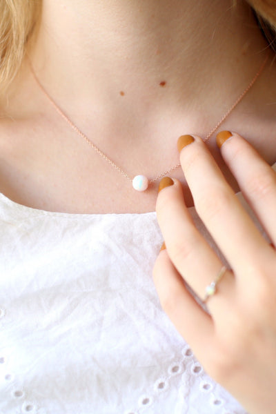 White Opal Sphere Necklace
