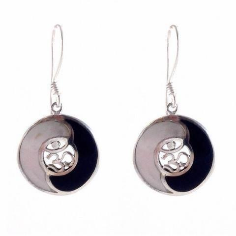 Mother of Pearl & Onyx Om and Yin Yang Earrings, $38 | Sterling Silver