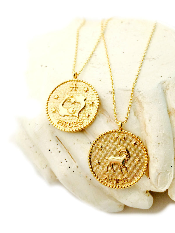 Zodiac Medallion Necklace | Gold Plated Chain Pendant | Light Years