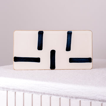 Porcelain White & Blue Rectangle Plate