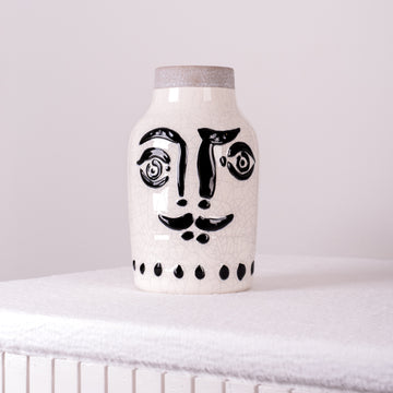 Stoneware Vase with Detailed Black Imprint Face