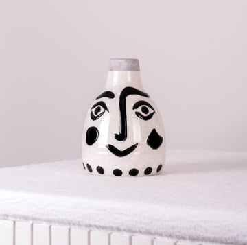 Stoneware Vase with Black Imprint Face