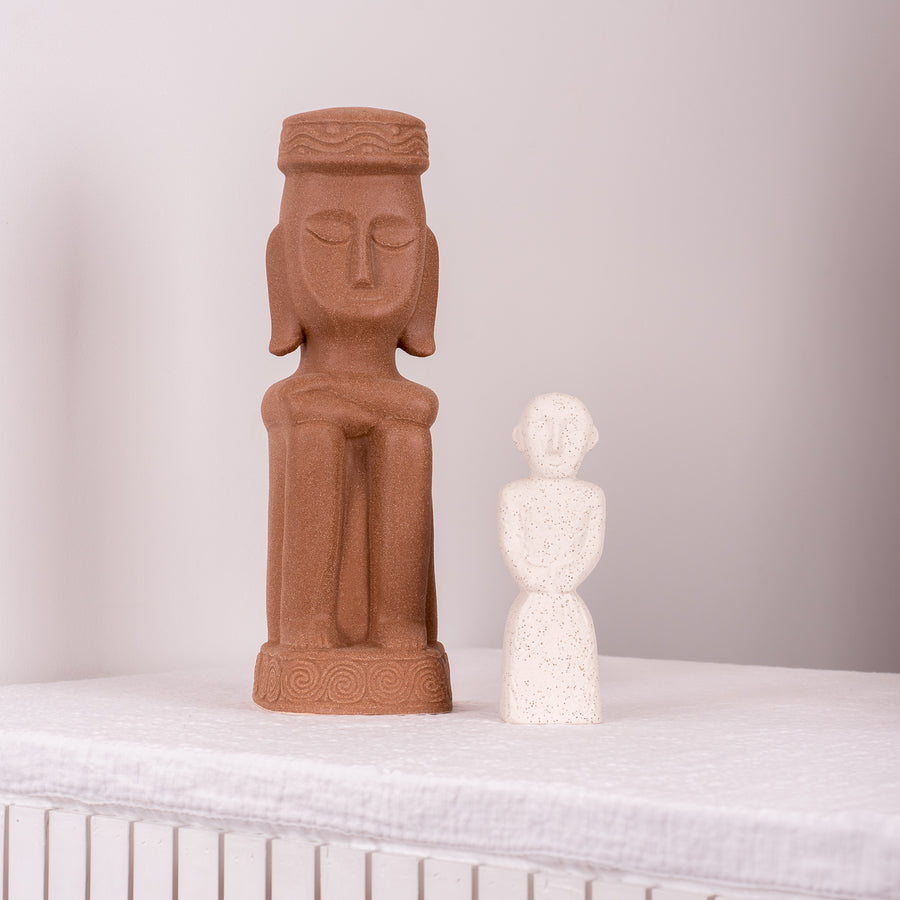 Stoneware Figure Tribal Speckled White