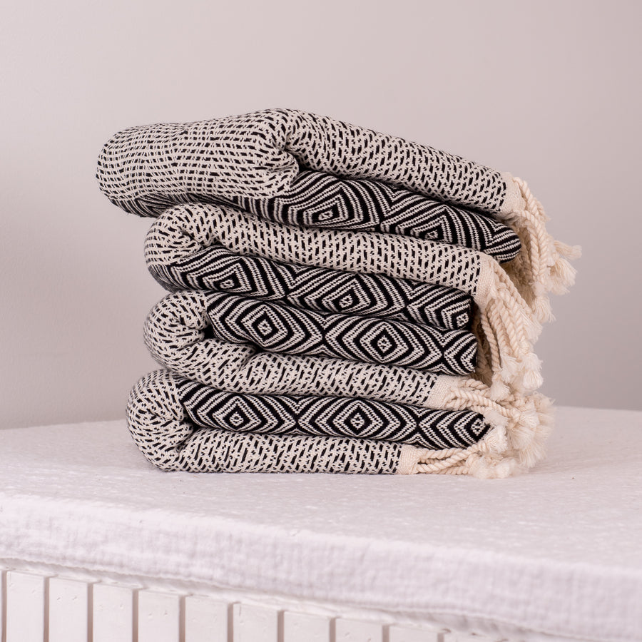 Tribal Diamond Towel Black