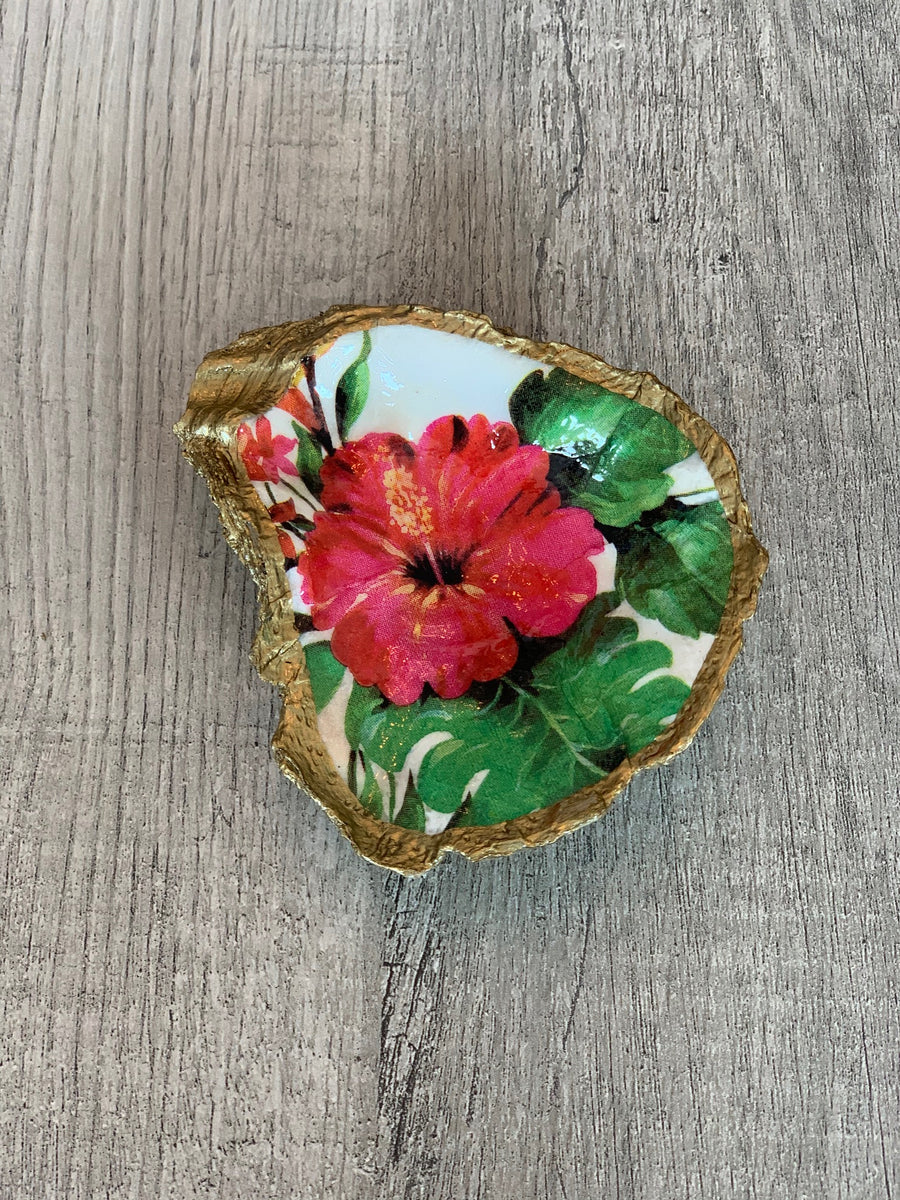 Tropical Decoupage Oyster Ring Dish