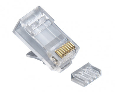 RJ45 (8P8C) Cat6 2pc. Round-Solid 3-Prong.  25/Clamshell., 106187C