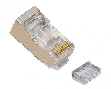 RJ45 (8P8C) Shielded Cat6 2pc Round-Solid 3-Prong w/Liner 10 clam, 106208C