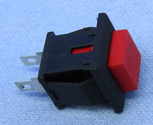 Square Snap-in PB, SPST 3A @125V, On-(Off), Red Butt., 30-10070