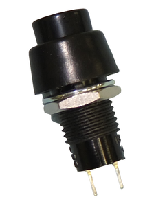 Min Push Button, SPST 3A @125V, (On)-Off, Blk Button, 30-111
