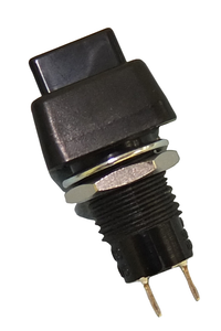 Min Sq. Push Button, SPST 3A @125V, (On)-Off, Blk Butt., 30-112