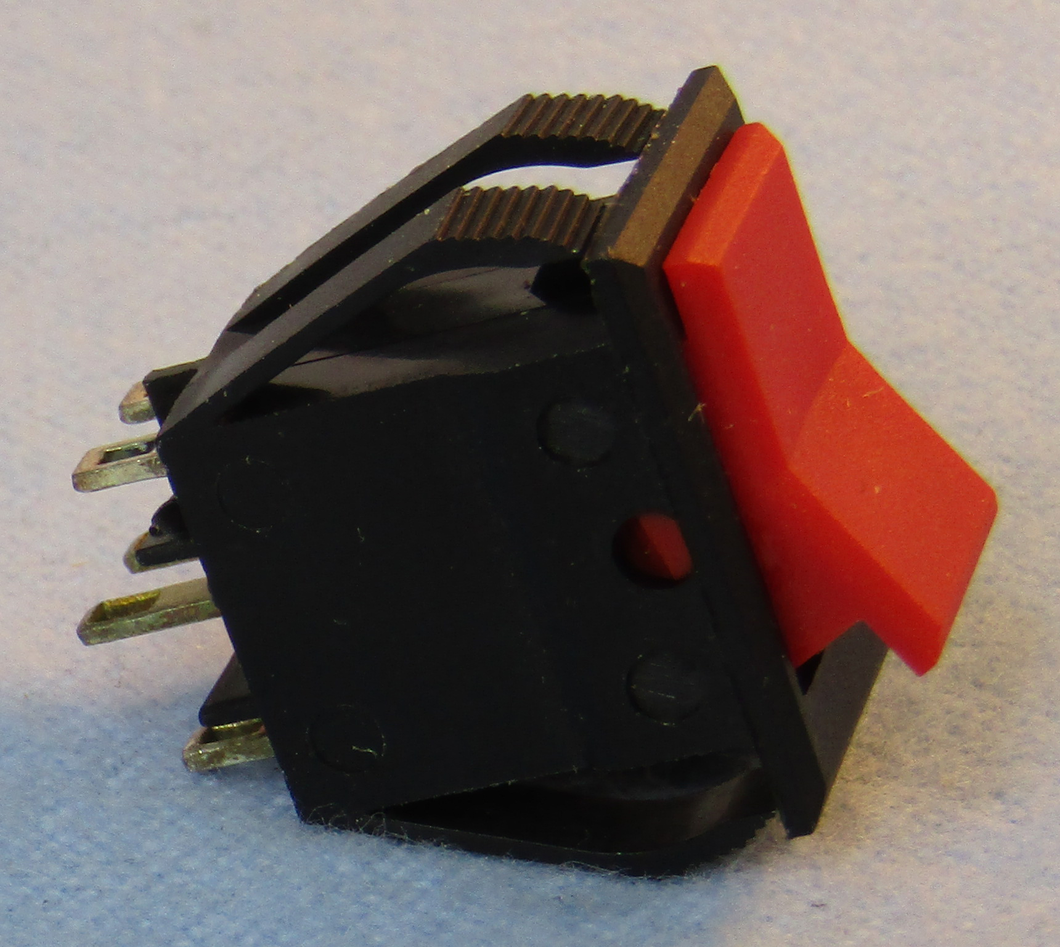 Min Rocker DPDT 8A @125V On-Off-On  Red Actuator, 30-656