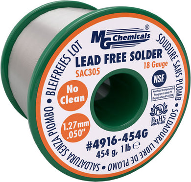 "SAC305, 96.3% Tin, 0.7% Copper, 3% Silver, Lead Free, No Clean,  1.27mm, .05"" Dia., 4916-454G"